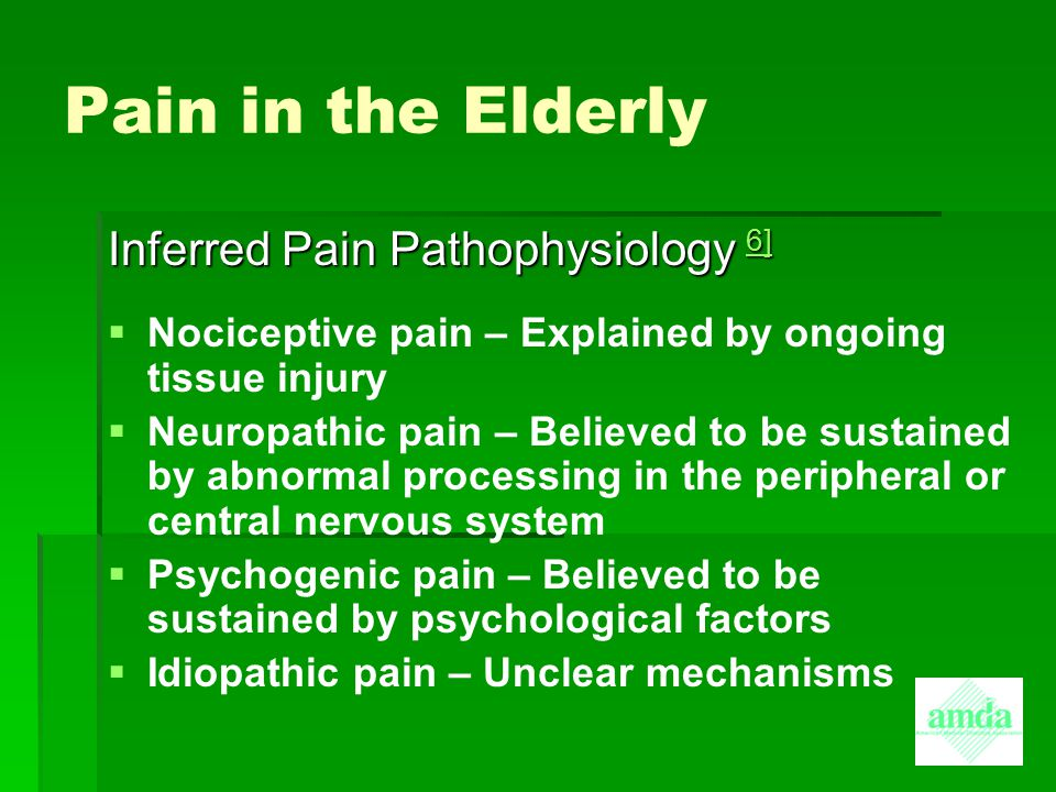 Pain in the Elderly Inferred Pain Pathophysiology 6]
